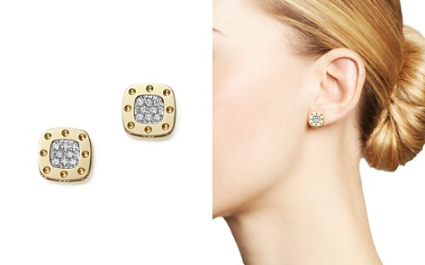 Roberto Coin 18K Yellow and White Gold Square Pois Moi Earrings with Diamonds, 0.24 ct. t.w. - Bloomingdale's_2