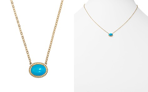 """Turquoise Oval Bezel Pendant Necklace in 14K Yellow Gold, 17"""" - 100% Exclusive - Bloomingdale's_2"""