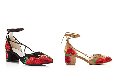 Kenneth Cole Tessa Embroidered Lace Up Block Heel Pumps - 100% Exclusive - Bloomingdale's_2