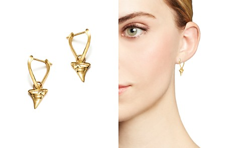 ICONERY x Andrea Linett 14K Yellow Gold Small Triangle Hoop Earrings with Shark Tooth Charms - 100% Exclusive - Bloomingdale's_2