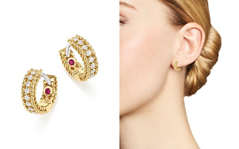 Roberto Coin 18K White and Yellow Gold Symphony Princess Diamond Hoop Earrings - Bloomingdale's_2