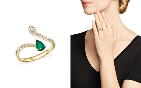 Emerald and Diamond Open Ring in 14K Yellow Gold - 100% Exclusive - Bloomingdale's_2