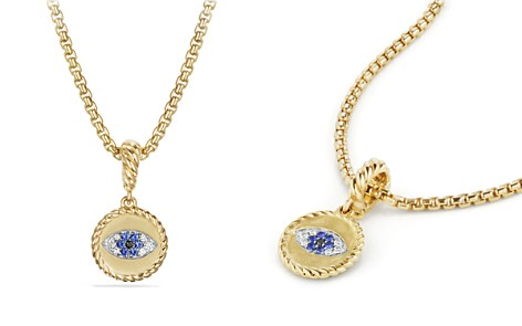 David Yurman Evil Eye Amulet with Diamonds and Blue Sapphire in 18K Gold - Bloomingdale's_2