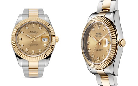 Pre-Owned Rolex 18K Yellow Gold and Stainless Steel Datejust II Fluted Bezel Watch with Diamond Dial and Oyster Band, 41mm - Bloomingdale's_2