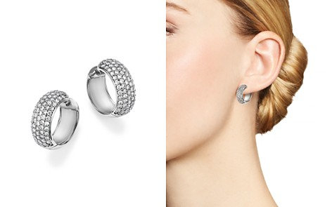 Diamond Huggie Hoop Earrings in 14K White Gold, 1.50 ct. t.w. - 100% Exclusive - Bloomingdale's_2