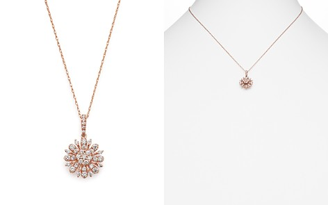 Diamond Flower Pendant Necklace in 14K Rose Gold, .55 ct. t.w. - 100% Exclusive - Bloomingdale's_2