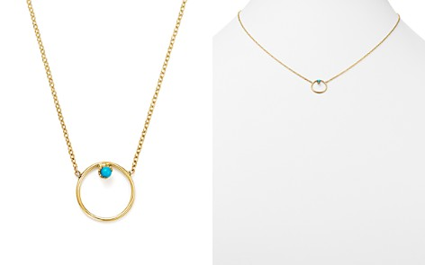 """Zoë Chicco 14K Yellow Gold Turquoise Circle Necklace, 15"""" - Bloomingdale's_2"""
