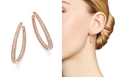 Diamond Inside Out Oval Hoop Earrings in 14K Rose Gold, 1.0 ct. t.w. - 100% Exclusive - Bloomingdale's_2