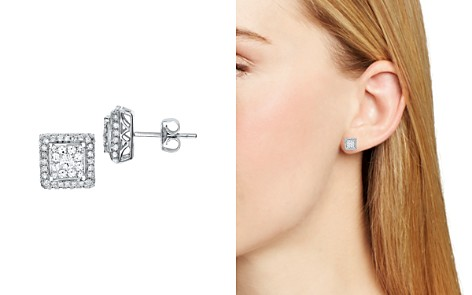 Diamond Cluster Square Stud Earrings in 14K White Gold, 1.0 ct. t.w. - Bloomingdale's_2