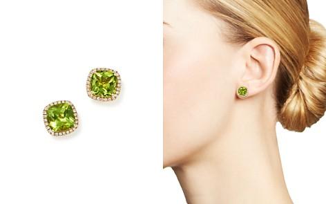 Cushion Cut Peridot And Diamond Halo Earrings In 14k Yellow Gold 100 Exclusive
