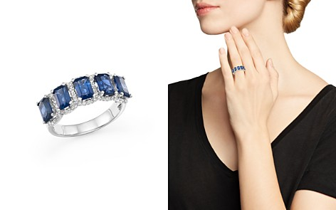 Blue Sapphire and Diamond Statement Ring in 14K White Gold - 100% Exclusive - Bloomingdale's_2