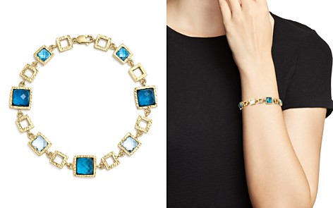 London Blue and Swiss Blue Topaz Geometric Bracelet in 14K Yellow Gold - 100% Exclusive - Bloomingdale's_2