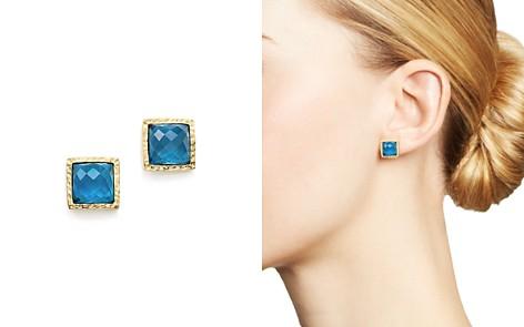 London Blue Topaz Geometric Stud Earrings in 14K Yellow Gold - 100% Exclusive - Bloomingdale's_2