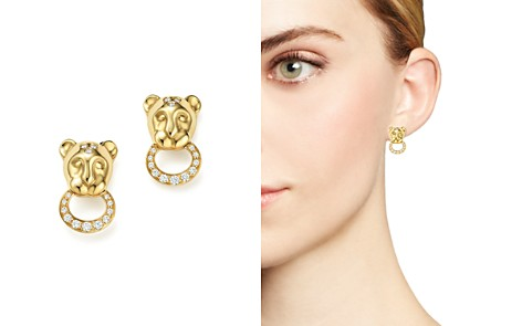 Temple St. Clair 18K Yellow Gold Lion Cub Pavé Diamond Earrings - Bloomingdale's_2
