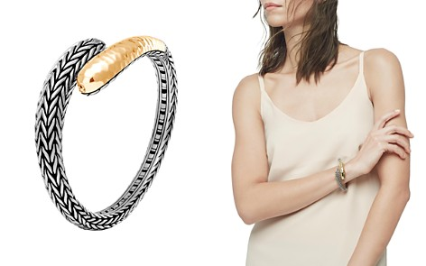John Hardy 18K Yellow Gold and Sterling Silver Classic Chain Hammered Small Kick Cuff - Bloomingdale's_2