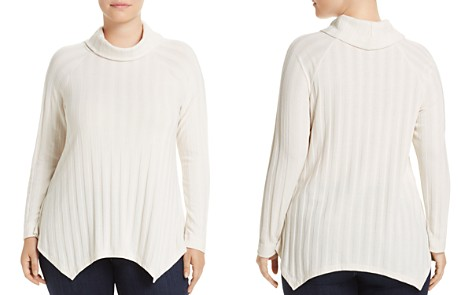 B Collection by Bobeau Curvy Libby Rib Stripe Turtleneck Sweater - Bloomingdale's_2