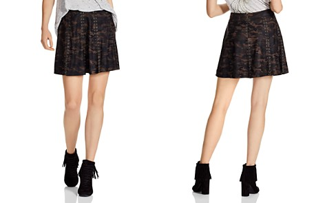 Haute Hippie Sagat Camouflage Leather A-Line Skirt - Bloomingdale's_2