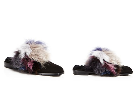 Stuart Weitzman Women's Furgetit Suede & Fox Fur Mules - Bloomingdale's_2