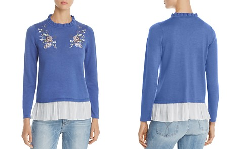 Design History Floral Embroidered Ruffle Sweater - Bloomingdale's_2