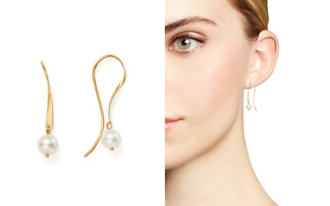 Bloomingdale's Cultured Freshwater Pearl Threader Earrings in 14K Yellow Gold - 100% Exclusive_2