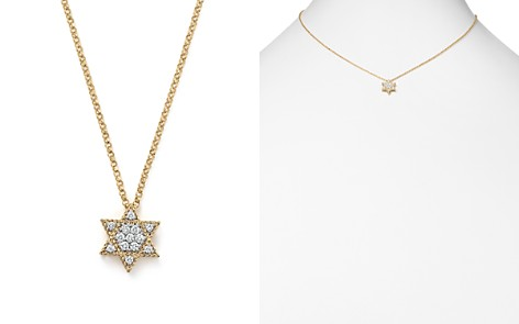"Roberto Coin 18K Yellow Gold Tiny Treasures Princess Diamond Star of David Necklace, 18"" - Bloomingdale's_2"