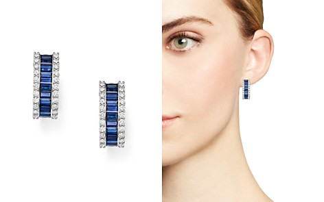 Bloomingdale's Blue Sapphire & Diamond Earrings in 14K White Gold - 100% Exclusive_2