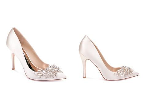 Badgley Mischka Marcela Satin Embellished Pointed Toe Pumps - Bloomingdale's_2