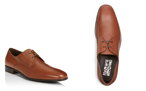 Salvatore Ferragamo Textured Leather Plain Toe Derbys - Bloomingdale's_2