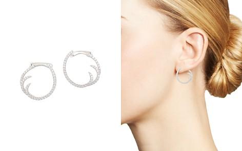 Frederic Sage 18K White Gold Pavé Diamond Small Single Wave Hoop Earrings - Bloomingdale's_2
