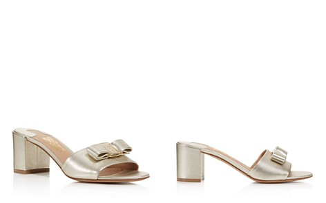 Salvatore Ferragamo Women's Metallic Leather Slide Sandals - Bloomingdale's_2