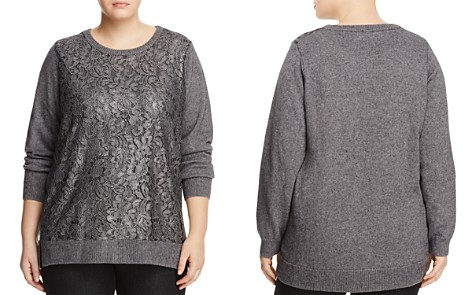 Foxcroft Plus Pixie Lace Front Sweater - Bloomingdale's_2