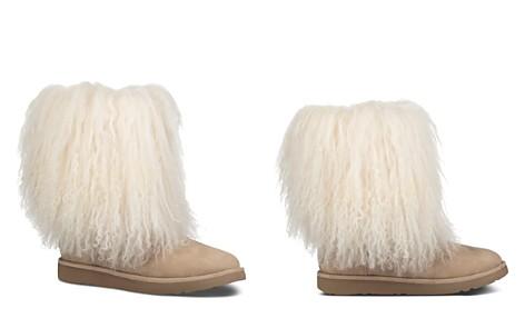 UGG® Women's Lida Suede & Curly Sheepskin Booties - Bloomingdale's_2