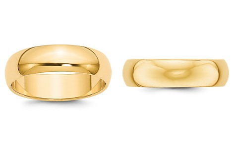 Bloomingdale's Men's 6mm Half Round Band Ring in 14K Yellow Gold - 100% Exclusive _2
