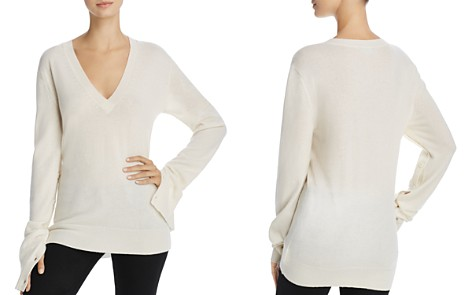 Theory V-Neck Button-Sleeve Cashmere Sweater - Bloomingdale's_2