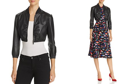 Emporio Armani Cropped Leather Bomber Jacket - Bloomingdale's_2