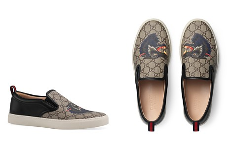 Gucci Mens Wolf Head Slip On Sneakers