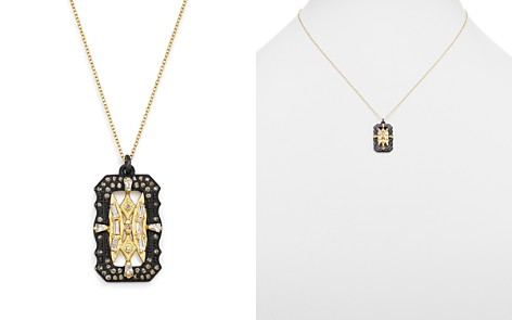 """Armenta 18K Yellow Gold & Blackened Sterling Silver Old World White Sapphire & Champagne Diamond Pendant Necklace, 18"""" - Bloomingdale's_2"""