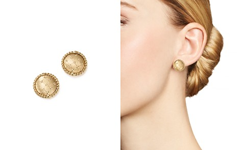 Bloomingdale's Quilted Button Earrings in 14K Yellow Gold - 100% Exclusive_2