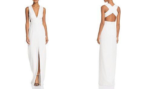 Aidan by Aidan Mattox V-Neck Front-Slit Gown - 100% Exclusive - Bloomingdale's_2
