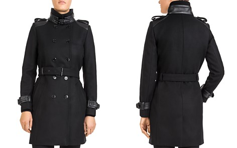 The Kooples Double-Breasted Leather-Trimmed Coat - Bloomingdale's_2