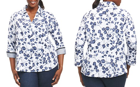 Foxcroft Plus Floral-Print Wrinkle-Free Blouse - Bloomingdale's_2
