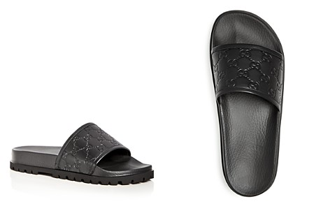 Gucci Men's Pursuit Treck Embossed Leather Slide Sandals - Bloomingdale's_2