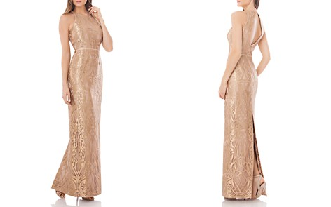 JS Collections Metallic Lace Gown - Bloomingdale's_2