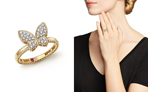 Roberto Coin 18K Yellow Gold Tiny Treasures Diamond Butterfly Ring - Bloomingdale's_2