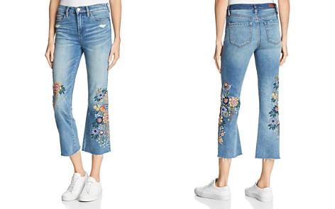 BLANKNYC Embroidered Cropped Flared Jeans in Delaytionship - Bloomingdale's_2
