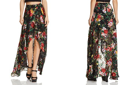 Alice + Olivia Kirstie Floral Burnout High/Low Maxi Skirt - Bloomingdale's_2