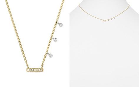 "Meira T 14K White & Yellow Gold Diamond Bar & Bezel Charm Necklace, 16"" - Bloomingdale's_2"