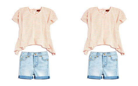 7 For All Mankind Girls' Ribbed Striped Flowy Tee & Denim Shorts Set - Baby - Bloomingdale's_2