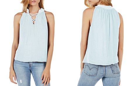 Michael Stars Embroidered Split-Neck Top - Bloomingdale's_2