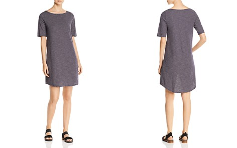 Eileen Fisher Petites Bateau Neck Striped Knit Dress - Bloomingdale's_2